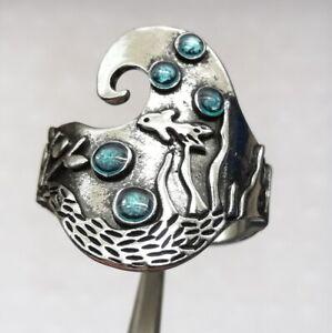 Ausgefallener Silber Ring S925 Punze mit blauen Steinen -Gr.59 /18,8 mm Ø