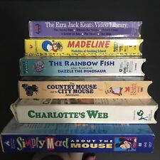 Lot of 6 VHS Videos Childrens Movies Books Madeline Rainbow Fish Mickey Mouse