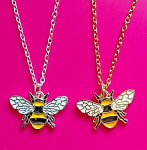 Gold/Silver BUMBLE BEE Necklace ~ Only £3.95 & FREE UK Post