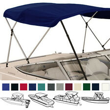 "BIMINI TOP BOAT COVER NAVY 3 BOW 72""L 46""H 79""-84""W - W/ BOOT & REAR POLES"