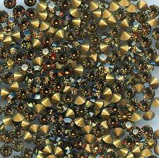 451095 *** 30 STRASS ANCIENS FOND CONIQUE MARRON-BEIGE 4mm