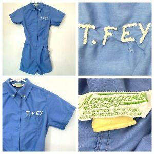 Vintage Merrygarden Gym Romper Child Size 8 Embroidered T. Fey Blue Uniform KC