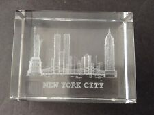 New York City 3D Laser Etched Glass Skyline with Twin Towers Paperweight