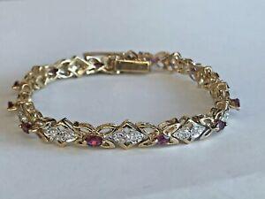 14k Solid Yellow Gold Genuine Ruby & Diamond Women's Butterfly  tennis  Bracelet
