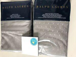2 pc RALPH LAUREN Queen Flat & Fitted Sheet BEDFORD Jacq Grey Dawn Cotton 400TC