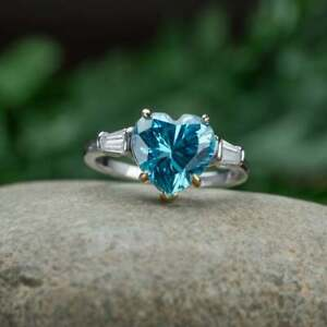 Natural Heart  Cut Aquamarine Engagemeng Rings, Anniversary Ring, Gift For Her