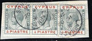 CYPRUS KGV Postmark ¼p Stamps Strip{3} Super *LARNACA* 1925 CDS Piece LGREEN69