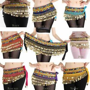 8PCS Belly Dance Hip Scarf Wrap Women Dancing Gold Coins Belt Velvet Sash Skirt