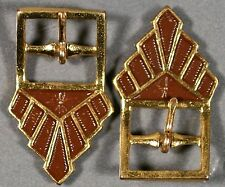 ONE PAIR BROWN GOLD 20'S DECO ANTIQUE VINTAGE ENAMEL METAL SAMPLE BUCKLES 1.3""
