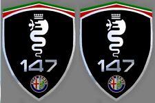 2 adhésifs sticker noir chrome ALFA ROMEO 147  (idéal ailes avant)
