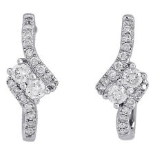 """14K White Gold Diamond Two Stone Hearts Together Swirl Hoop 0.7"""" Earrings 1/2 CT"""