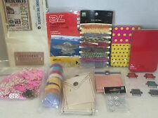 Large Mixed Lot Scrapbooking Supplies Brads Tags Fibers Paper Flowers Photo Crns