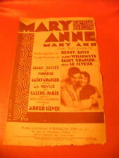 Partition Mary Anne Florelle Saint Granier Revue Casino de Paris 1927