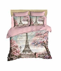 Paris Bedding Set Eiffel Tower Themed 100% Cotton Quilt/Duvet Cover Set 3 Pcs