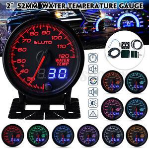 "2"" 52mm Digital & Pointer 10 Color LED Car Water Temp Temperature Gauge Meter US"