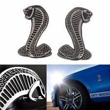 2X SILVER Cobra Snake FENDER BADGE Emblem TRUNK Badge Sticker Mustang ShelbY