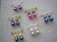 Pearl & Diamante Stud Earrings Silver Gold Bridesmaids Bridal Wedding Party 57S