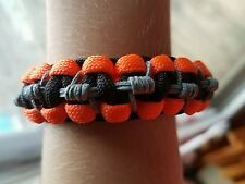 #34 kids 550 paracord and microcord bracelets, neon orange, gray and black