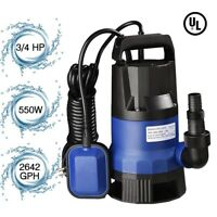 3/4 HP 2642GPH 550W Submersible Water Pump Swimming Pool Dirty Flood Clean Pond