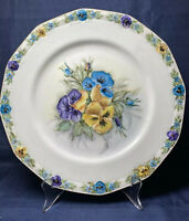 "Antique Hand Painted 10.5"" Fine Porcelain China Plate Charger Flowers Signed"