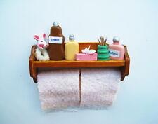 Dolls House Miniature 1:12th Scale Bathroom Shelf With Peach Towels