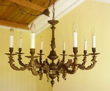 Large Vintage 1940s French Rococo Chandelier Gilt Brass 8 Light Baroque
