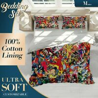 Super Heroes Graffiti Colourful Quilt Cover Single Bed Double Queen King Size