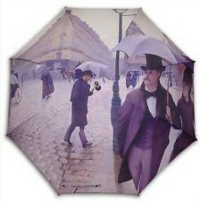 "Caillebotte ""Rainday"" painting long size auto umbrella"