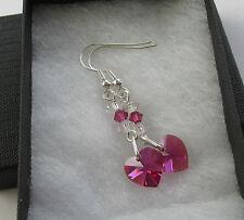 Handmade Swarovski Elements Cerise Fuchsia Pink & Crystal Heart Beady Earrings