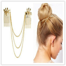 Tassel Leaf Women Elegant Golden Metal Special Comb Cuff Band Chain Headband Hot