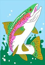 New listing Trout Jumping Out of Water 42 x 29 Rectangular Double Applique Large House Flag
