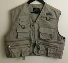 White River Fly Shop Mens Fishing Vest Khaki Multiple Pockets Size Medium