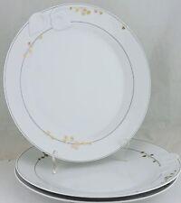 DINNER PLATE CHLOE  PARIS FLEURON SET 3 RARE WHITE LEAF EMBOSSED GOLD GARLAND