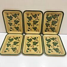"6 American Art Works Social Supper Trays w/Ivy Pattern Green 6.5"" x 4.5"" #N15798"