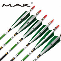 """6Pcs 33"""" Archery Carbon Arrows W/Real Turkey Feather SP500 F Recurve bow Hunting"""