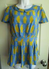 Charlotte Taylor Anthropologie Adelie Blue Yellow Penguin Peplum Silk Top 6