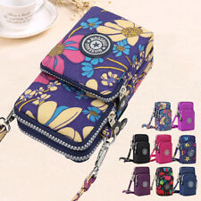 Ladies Girls Nylon 3 Layers Design Small Crossbody Shoulder Bag Wristlet Handbag