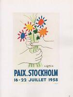 """1989 VINTAGE  """"PAIX STOCKHOLM"""" PEACE BOUQUET PICASSO offset Lithograph"""