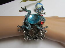 Women Silver Western Fashion Jewelry Metal Frog Blue Cuff Bracelet Bling Beads
