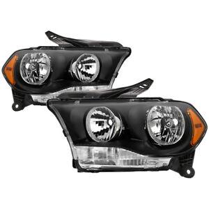 Fit Dodge 11-13 Durango Black Housing Replacement Headlights Pair Set