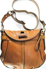 Fossil Fifty Four Women Handbag Brown Leather Solid Brass Buckles Fabric Lined