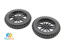 Lego Wheels Motorbike  (11957) Black and Tyres (88517) x 2  - Free Postage
