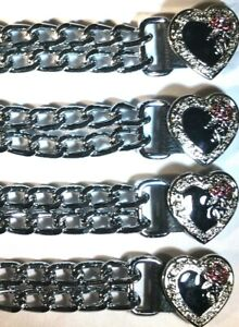 4 HEART LADIES DIAMOND CUT CHROME MOTORCYCLE BIKER VEST EXTENDERS MADE IN USA