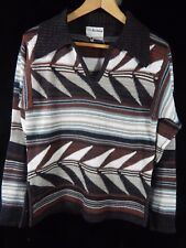 Vintage Collageman Brown Striped V Neck Sweater w/ Large Collar; Size M; Korea