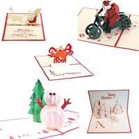5 Pack 3D Christmas Greeting Cards Paper-craft Holiday Pop Up Cards Gift