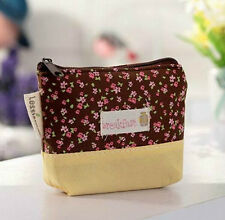 New Women's Canvas Coin Brown Purse Cute Flower Wallets Storage Bags Car