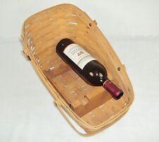 Longaberger Vegetable Sleigh Basket w/Wooden Wine Display Racks ~ Signed 1987