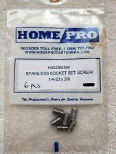 "1/4-20 x 3/8"" Home Pro Allen Socket Set Screw Stainless Steel Qty 6"