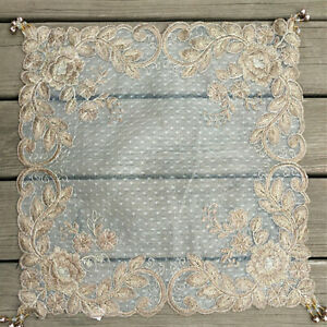 Square Lace Table Cover Dining Doily Floral Embroidery Sequin Party Home Decor