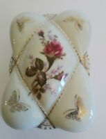 Vintage Porcelain Cigarette Trinket Box Moss Rose Gold Butterfly L&M Bond Ware